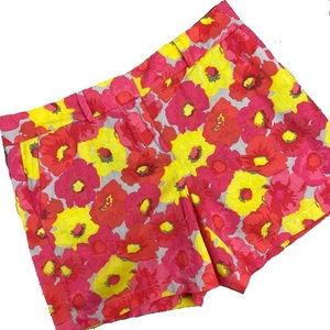 LOFT Pink & Yellow Floral Linen Cotton Shorts